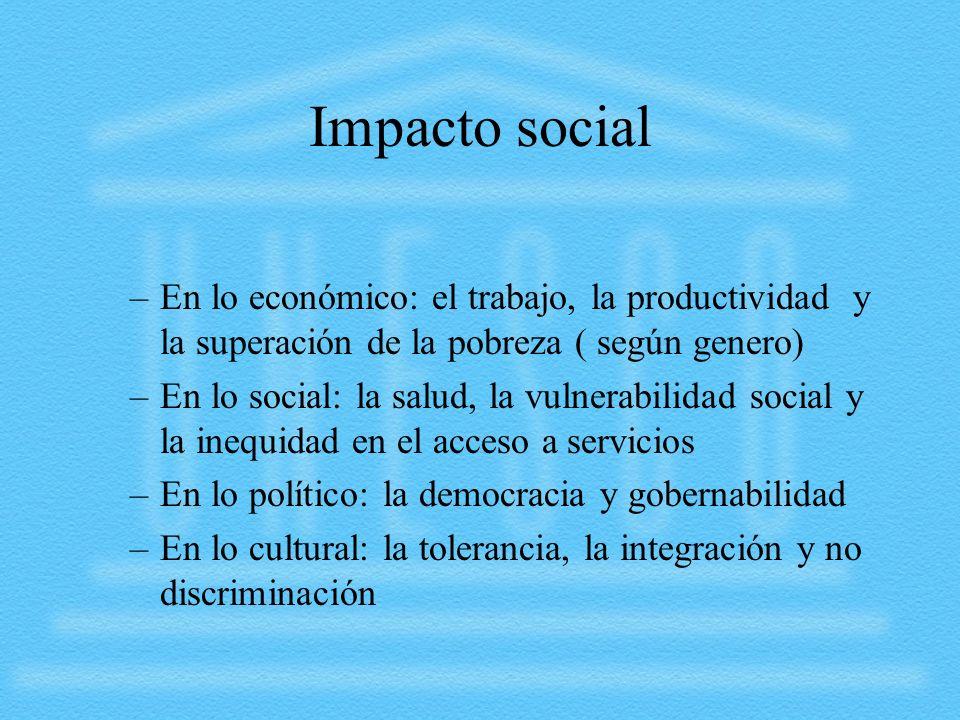 Impacto social –En lo económico: el trabajo, la productividad y la superación de la pobreza ( según genero) –En lo social: la salud, la vulnerabilidad