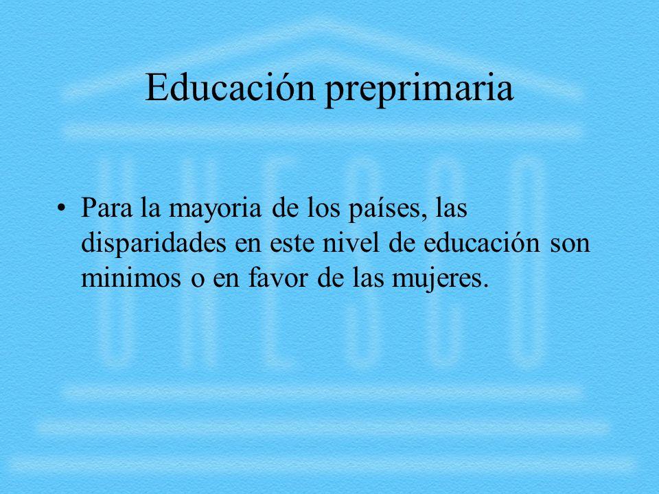 Educación preprimaria Para la mayoria de los países, las disparidades en este nivel de educación son minimos o en favor de las mujeres.