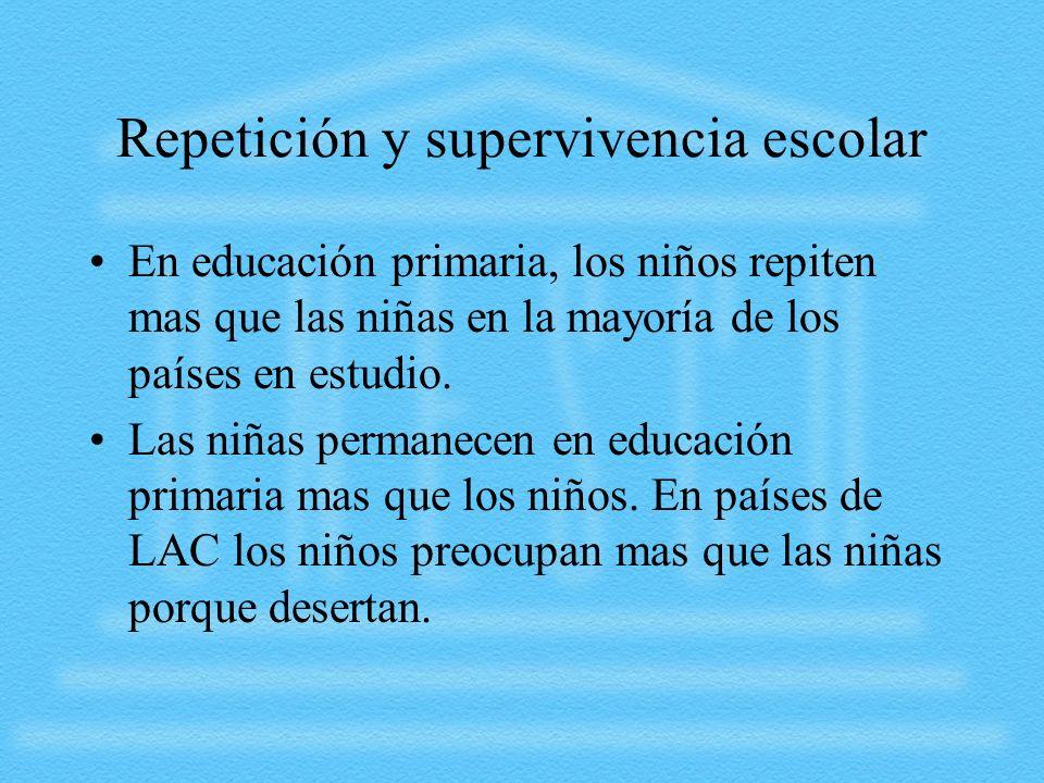 Repetición y supervivencia escolar En educación primaria, los niños repiten mas que las niñas en la mayoría de los países en estudio. Las niñas perman