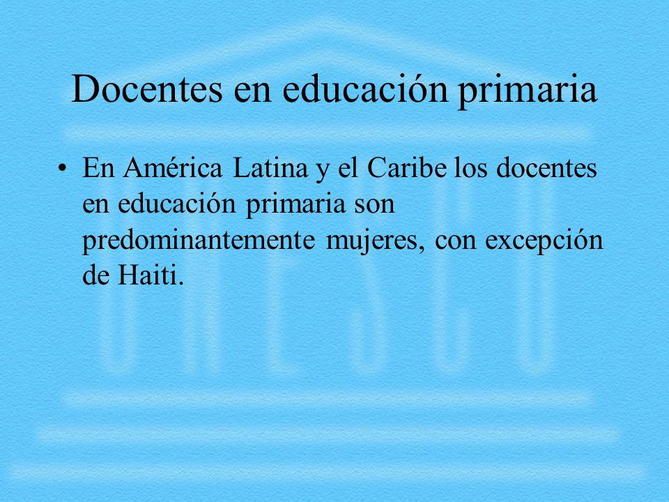 Docentes en educación primaria En América Latina y el Caribe los docentes en educación primaria son predominantemente mujeres, con excepción de Haiti.