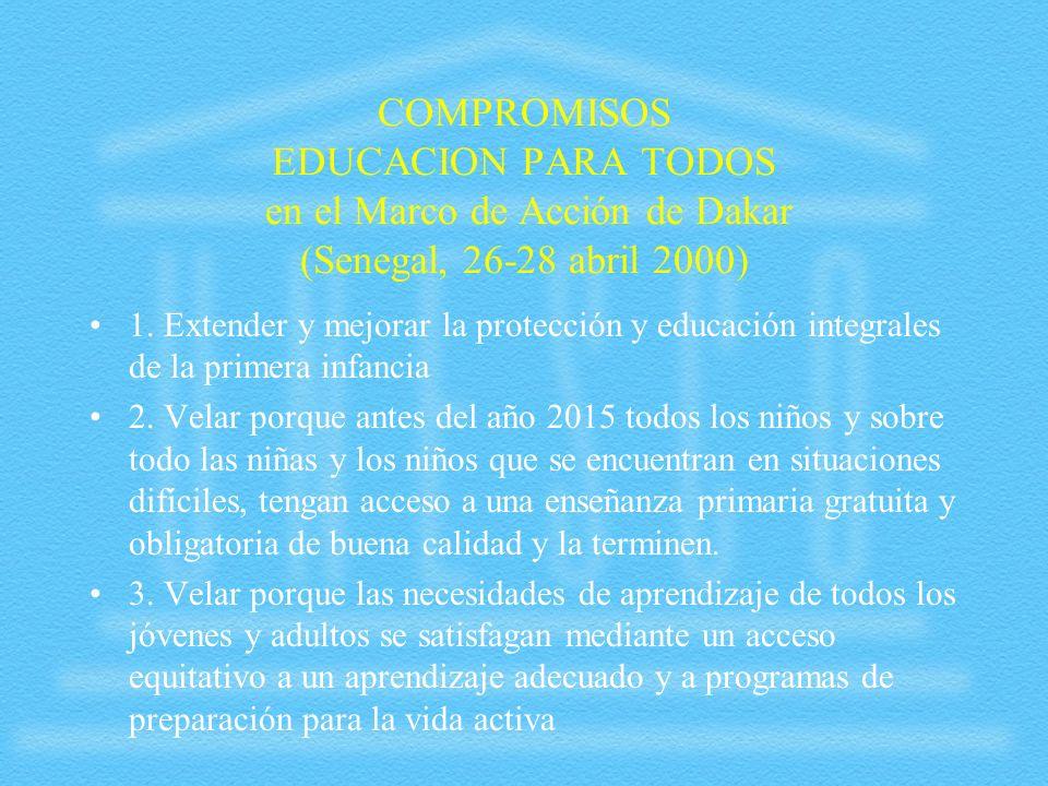 COMPROMISOS EDUCACION PARA TODOS en el Marco de Acción de Dakar (Senegal, 26-28 abril 2000) 1. Extender y mejorar la protección y educación integrales