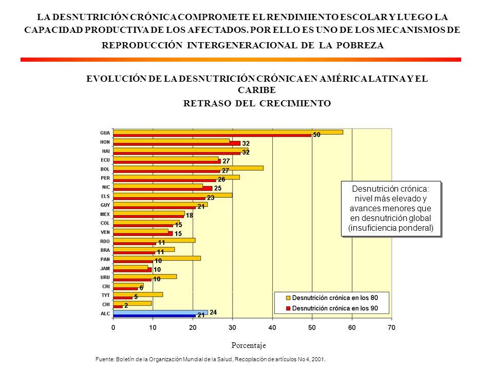 LA DESNUTRICIÓN CRÓNICA COMPROMETE EL RENDIMIENTO ESCOLAR Y LUEGO LA CAPACIDAD PRODUCTIVA DE LOS AFECTADOS.