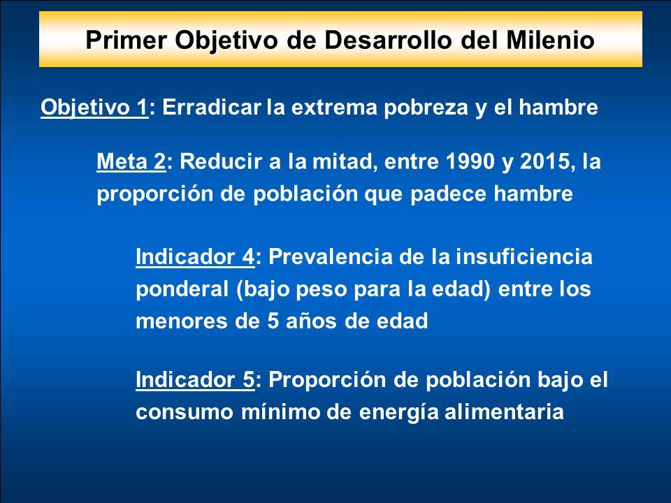 Objetivo 1: Erradicar la extrema pobreza y el hambre Meta 2: Reducir a la mitad, entre 1990 y 2015, la proporción de población que padece hambre Indicador 4: Prevalencia de la insuficiencia ponderal (bajo peso para la edad) entre los menores de 5 años de edad Indicador 5: Proporción de población bajo el consumo mínimo de energía alimentaria Primer Objetivo de Desarrollo del Milenio