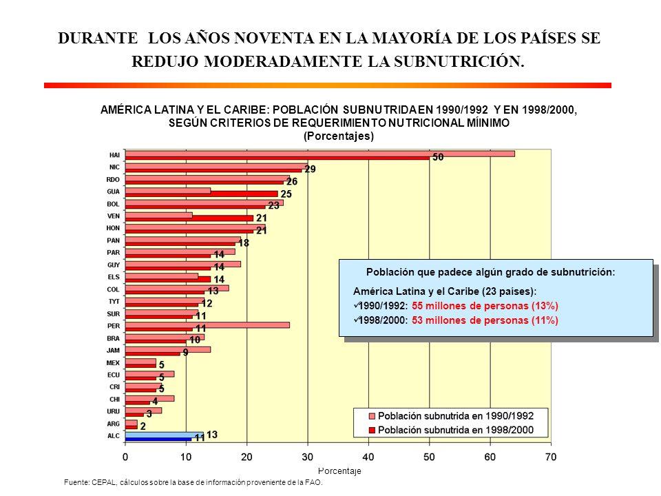 NO OBSTANTE LOS AVANCES REGISTRADOS, LOS PAÍSES DE MENOR INGRESO POR HABITANTE SIGUEN PRESENTANDO NIVELES MUY ELEVADOS DE DESNUTRICIÓN INFANTIL INSUFICIENCIA PONDERAL (Indicador de seguimiento de la meta de hambre del milenio) Fuente: UNICEF, Informe Mundial de la Infancia 1993 y 2003.