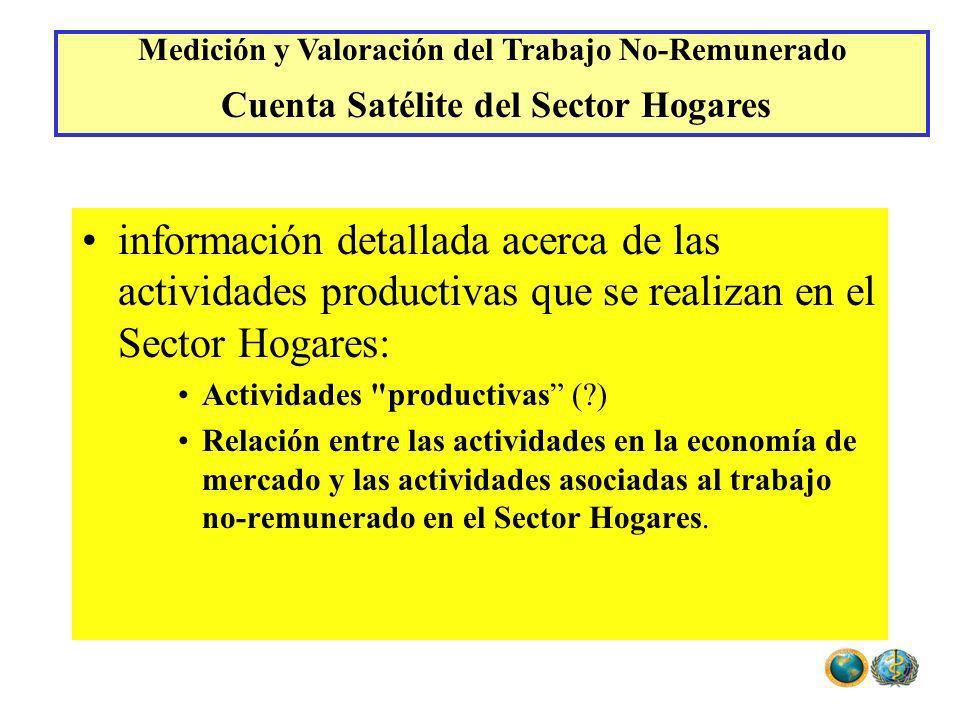 información detallada acerca de las actividades productivas que se realizan en el Sector Hogares: Actividades