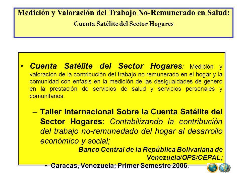 Cuenta Satélite del Sector Hogares : Medición y valoración de la contribución del trabajo no remunerado en el hogar y la comunidad con enfasis en la m