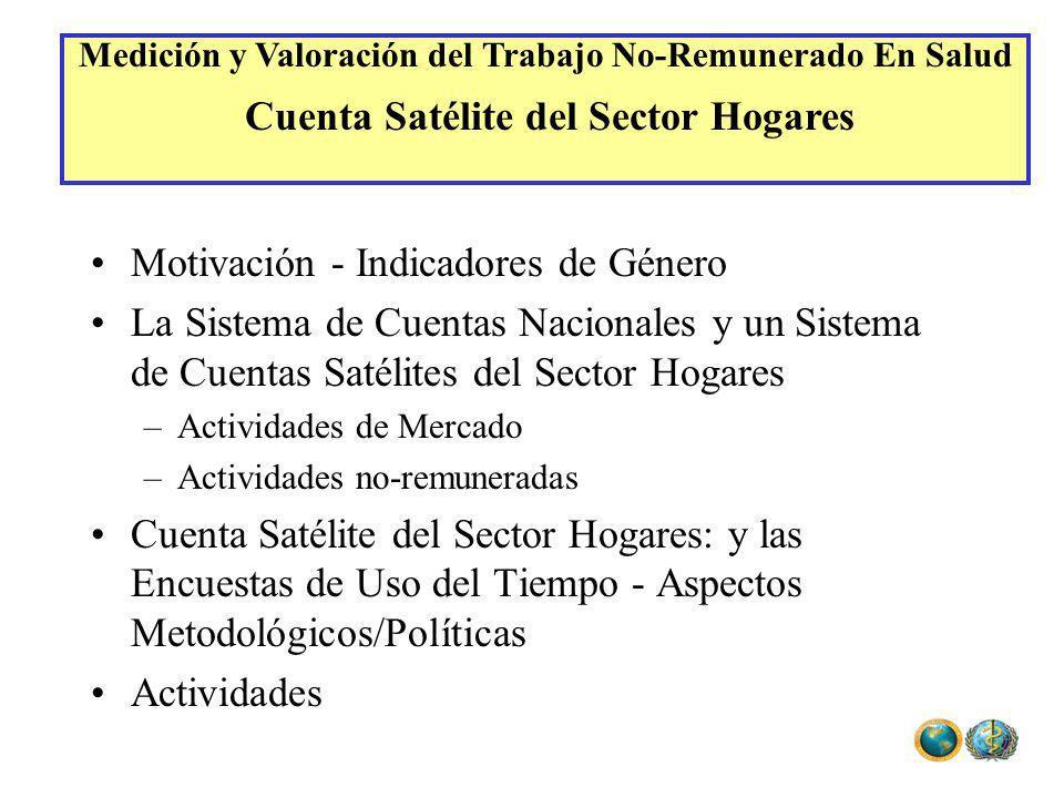 Motivación - Indicadores de Género La Sistema de Cuentas Nacionales y un Sistema de Cuentas Satélites del Sector Hogares –Actividades de Mercado –Acti