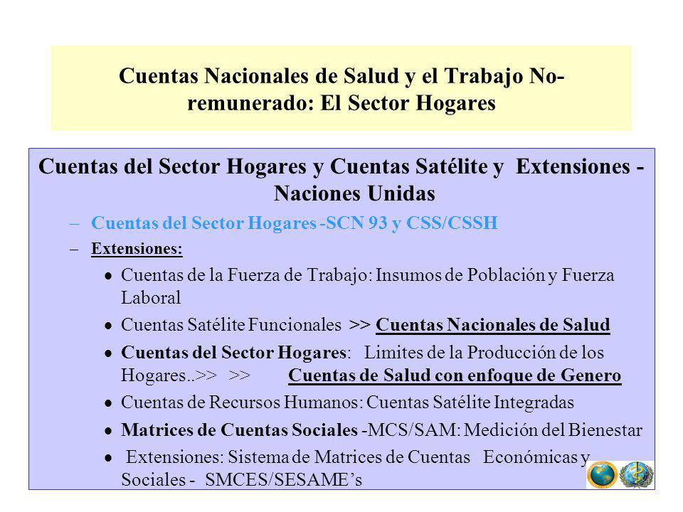 Cuentas del Sector Hogares y Cuentas Satélite y Extensiones - Naciones Unidas –Cuentas del Sector Hogares -SCN 93 y CSS/CSSH –Extensiones: Cuentas de