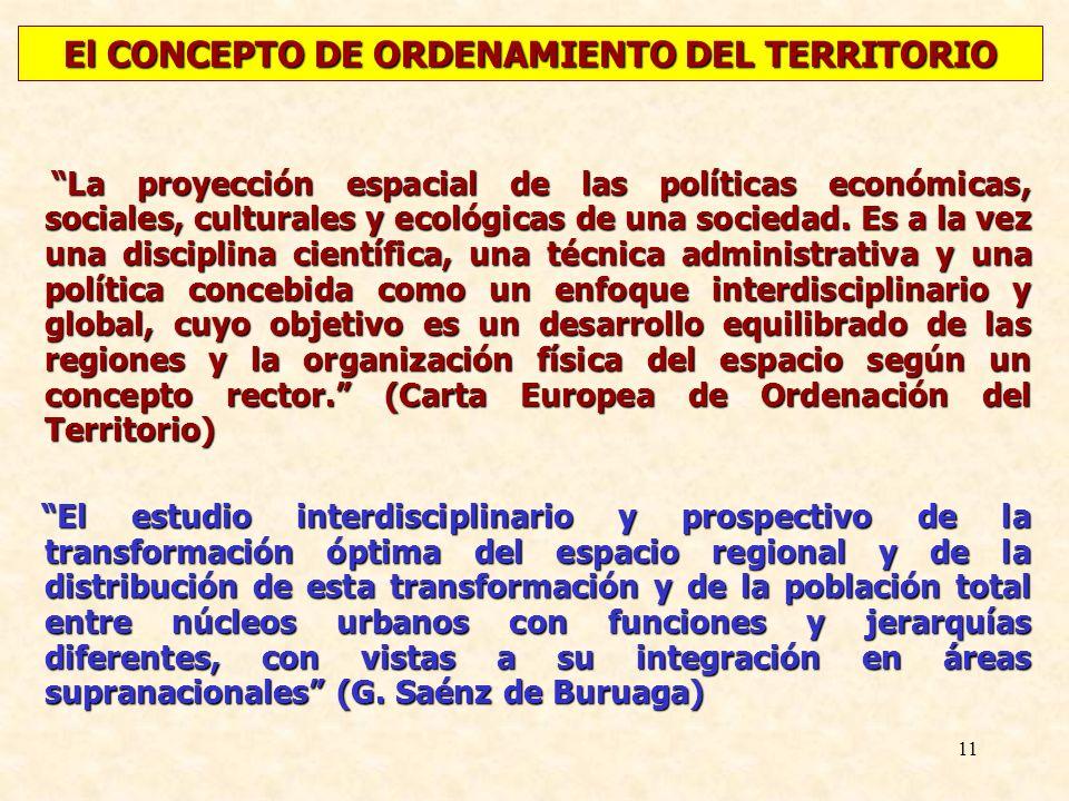 11 La proyección espacial de las políticas económicas, sociales, culturales y ecológicas de una sociedad. Es a la vez una disciplina científica, una t