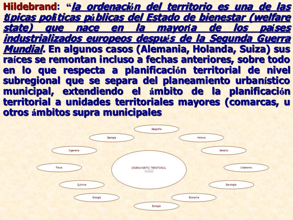 Hildebrand la ordenaci ó n del territorio es una de las t í picas pol í ticas p ú blicas del Estado de bienestar (welfare state) que nace en la mayor