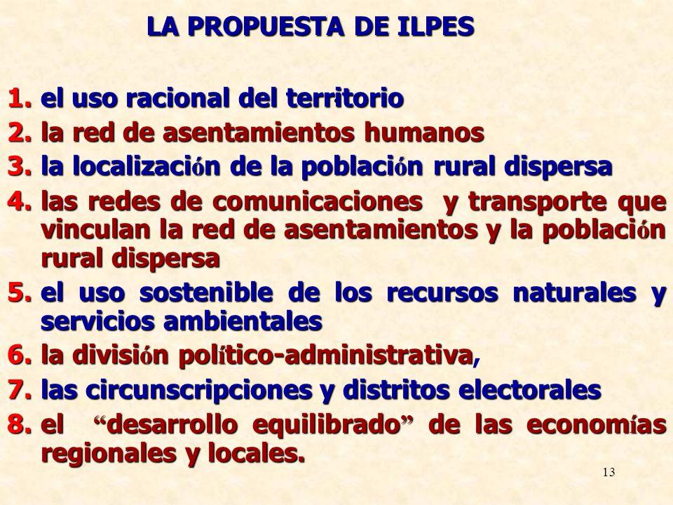 13. LA PROPUESTA DE ILPES 1.el uso racional del territorio 2.la red de asentamientos humanos 3.la localizaci ó n de la poblaci ó n rural dispersa 4.la
