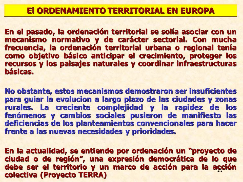 21 En el pasado, la ordenación territorial se solía asociar con un mecanismo normativo y de carácter sectorial. Con mucha frecuencia, la ordenación te