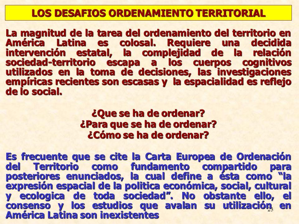 23 La magnitud de la tarea del ordenamiento del territorio en América Latina es colosal. Requiere una decidida intervención estatal, la complejidad de