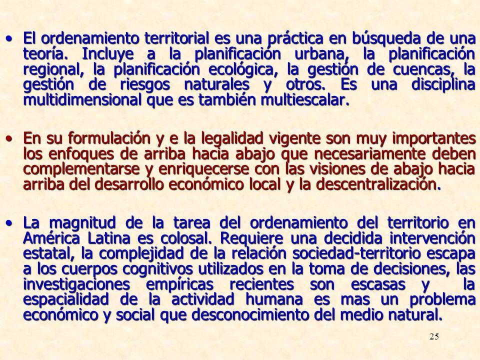 25 El ordenamiento territorial es una práctica en búsqueda de una teoría. Incluye a la planificación urbana, la planificación regional, la planificaci