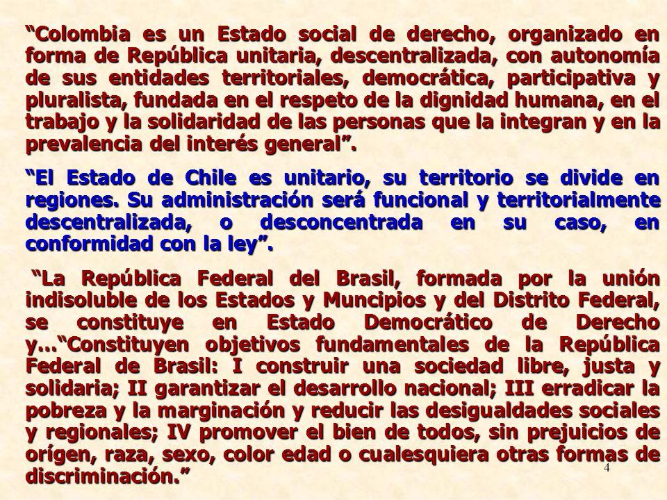 4 Colombia es un Estado social de derecho, organizado en forma de República unitaria, descentralizada, con autonomía de sus entidades territoriales, d