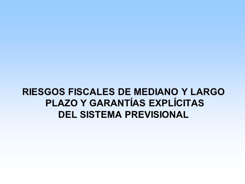 RIESGOS FISCALES DE MEDIANO Y LARGO PLAZO Y GARANTÍAS EXPLÍCITAS DEL SISTEMA PREVISIONAL