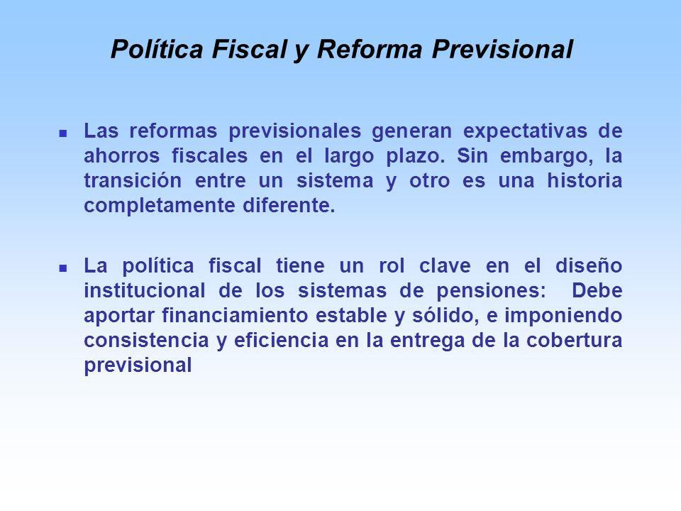 Política Fiscal y Reforma Previsional Las reformas previsionales generan expectativas de ahorros fiscales en el largo plazo.
