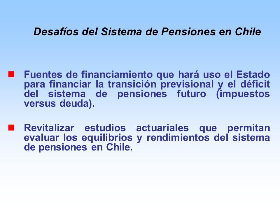 Fuentes de financiamiento que hará uso el Estado para financiar la transición previsional y el déficit del sistema de pensiones futuro (impuestos versus deuda).