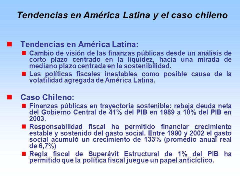 Tendencias en América Latina: Cambio de visión de las finanzas públicas desde un análisis de corto plazo centrado en la liquidez, hacia una mirada de mediano plazo centrada en la sostenibilidad.