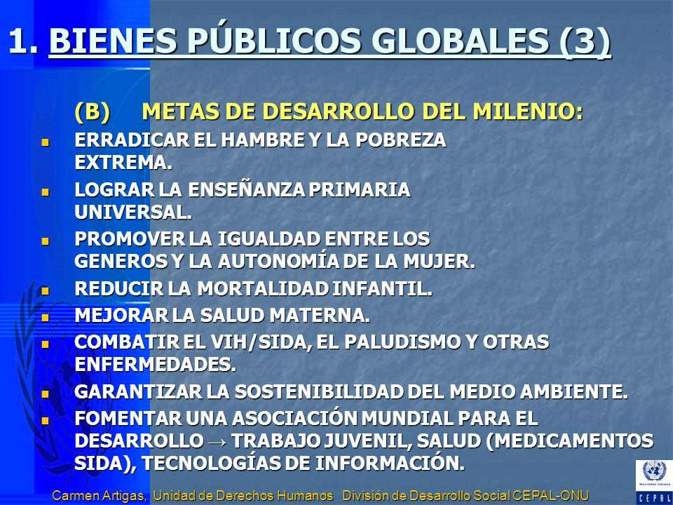 Carmen Artigas, Unidad de Derechos Humanos División de Desarrollo Social CEPAL-ONU 1. BIENES PÚBLICOS GLOBALES (3) (B)METAS DE DESARROLLO DEL MILENIO: