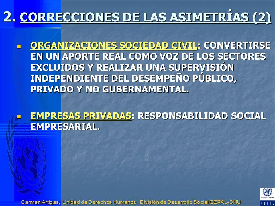 Carmen Artigas, Unidad de Derechos Humanos División de Desarrollo Social CEPAL-ONU 2. CORRECCIONES DE LAS ASIMETRÍAS (2) ORGANIZACIONES SOCIEDAD CIVIL