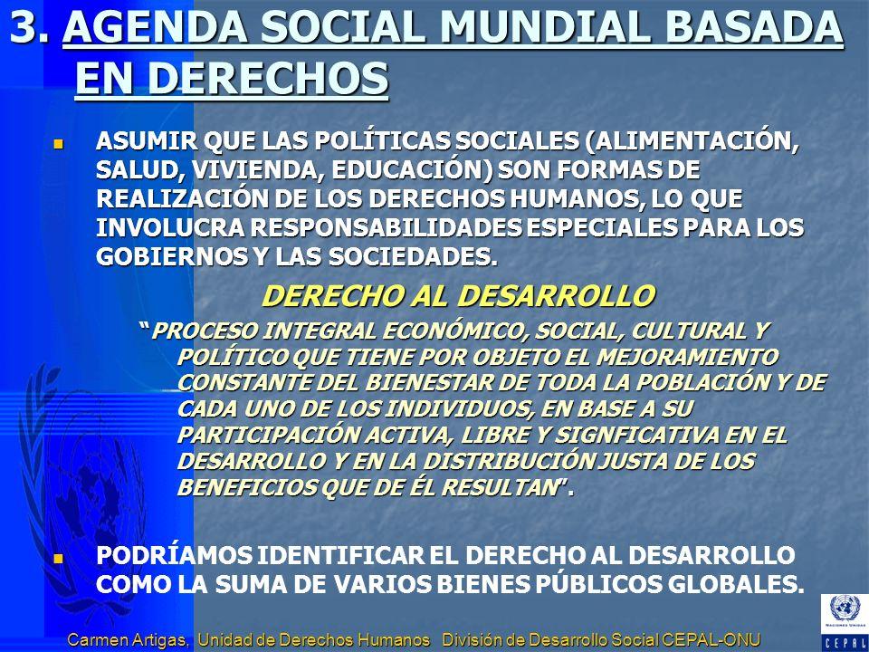 Carmen Artigas, Unidad de Derechos Humanos División de Desarrollo Social CEPAL-ONU 3. AGENDA SOCIAL MUNDIAL BASADA EN DERECHOS ASUMIR QUE LAS POLÍTICA