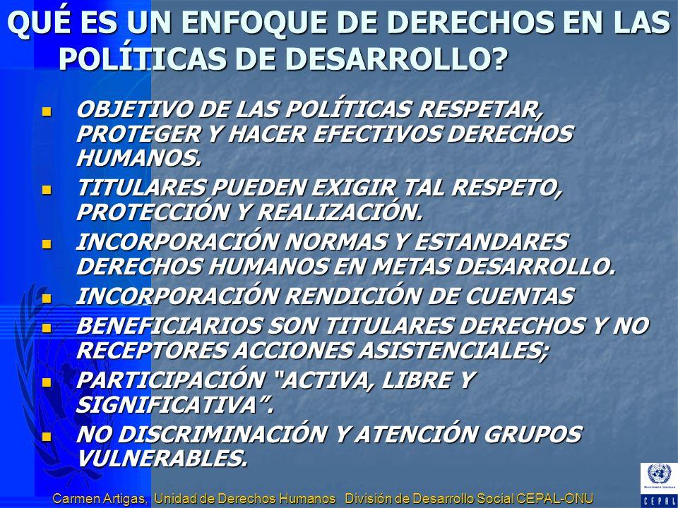 Carmen Artigas, Unidad de Derechos Humanos División de Desarrollo Social CEPAL-ONU QUÉ ES UN ENFOQUE DE DERECHOS EN LAS POLÍTICAS DE DESARROLLO? OBJET