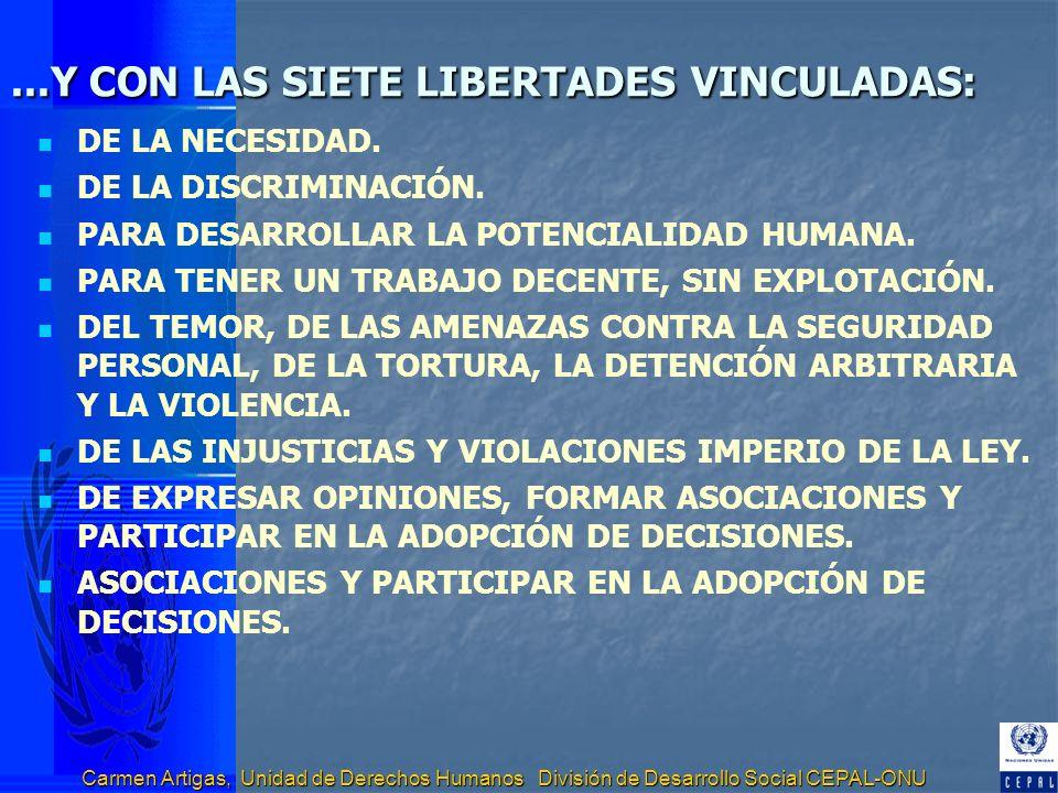 Carmen Artigas, Unidad de Derechos Humanos División de Desarrollo Social CEPAL-ONU...Y CON LAS SIETE LIBERTADES VINCULADAS: DE LA NECESIDAD. DE LA DIS