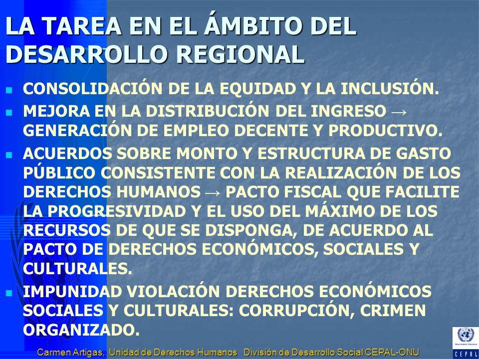 Carmen Artigas, Unidad de Derechos Humanos División de Desarrollo Social CEPAL-ONU LA TAREA EN EL ÁMBITO DEL DESARROLLO REGIONAL CONSOLIDACIÓN DE LA E