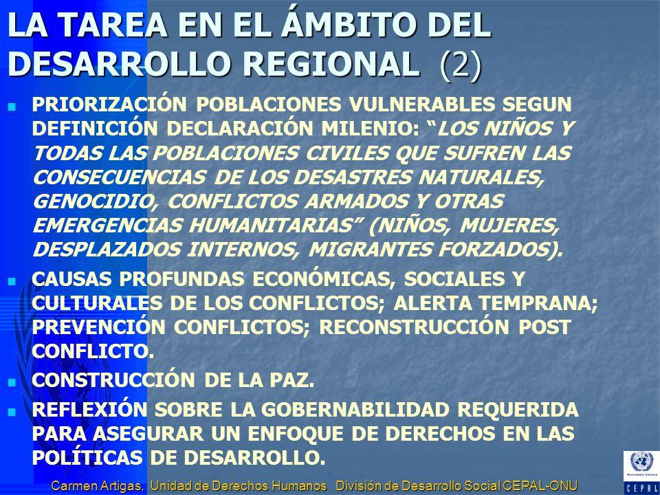 Carmen Artigas, Unidad de Derechos Humanos División de Desarrollo Social CEPAL-ONU LA TAREA EN EL ÁMBITO DEL DESARROLLO REGIONAL (2) PRIORIZACIÓN POBL