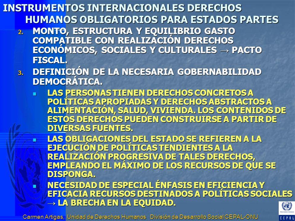 Carmen Artigas, Unidad de Derechos Humanos División de Desarrollo Social CEPAL-ONU INSTRUMENTOS INTERNACIONALES DERECHOS HUMANOS OBLIGATORIOS PARA EST