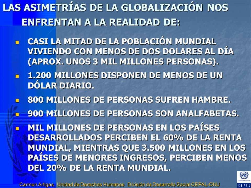 Carmen Artigas, Unidad de Derechos Humanos División de Desarrollo Social CEPAL-ONU LA TAREA EN EL ÁMBITO DEL DESARROLLO REGIONAL (2) PRIORIZACIÓN POBLACIONES VULNERABLES SEGUN DEFINICIÓN DECLARACIÓN MILENIO: LOS NIÑOS Y TODAS LAS POBLACIONES CIVILES QUE SUFREN LAS CONSECUENCIAS DE LOS DESASTRES NATURALES, GENOCIDIO, CONFLICTOS ARMADOS Y OTRAS EMERGENCIAS HUMANITARIAS (NIÑOS, MUJERES, DESPLAZADOS INTERNOS, MIGRANTES FORZADOS).