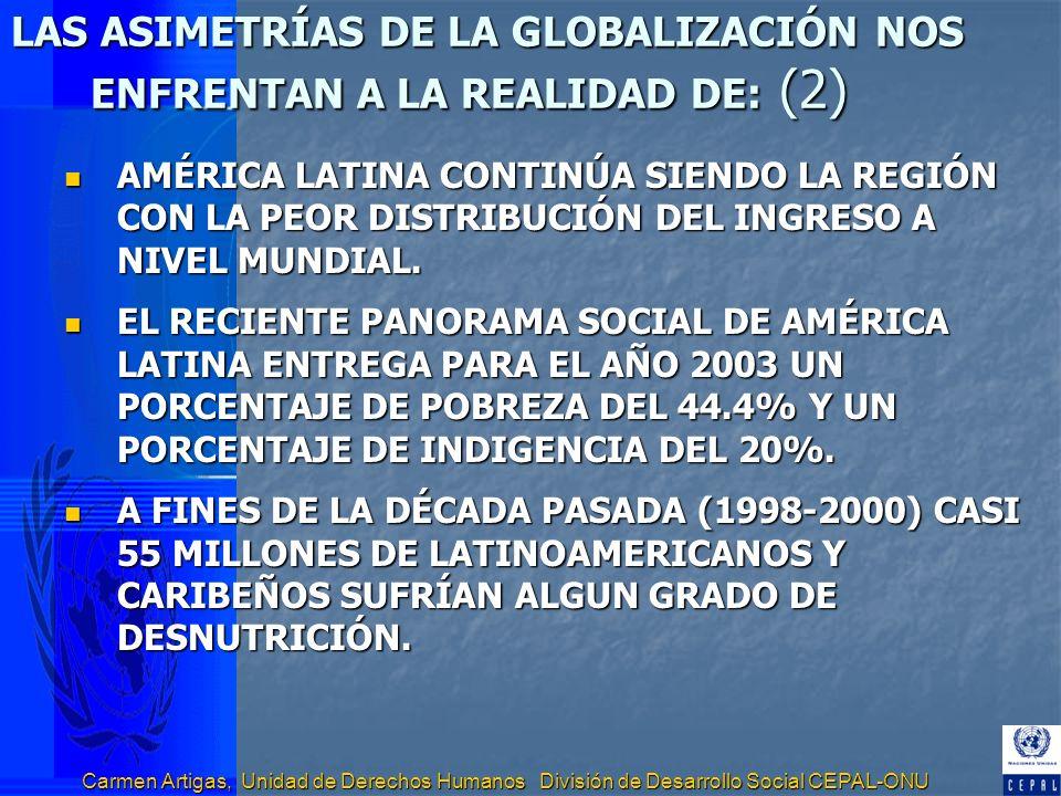 Carmen Artigas, Unidad de Derechos Humanos División de Desarrollo Social CEPAL-ONU OBJETIVOS E INDICADORES CLAVES DE LA REALIZACIÓN DEL DERECHO A LA ALIMENTACIÓN Objetivo 1: Todas las personas deben estar libres del flagelo del hambre.