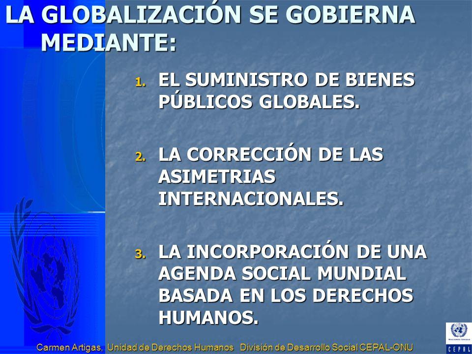 Carmen Artigas, Unidad de Derechos Humanos División de Desarrollo Social CEPAL-ONU LA GLOBALIZACIÓN SE GOBIERNA MEDIANTE: 1. EL SUMINISTRO DE BIENES P