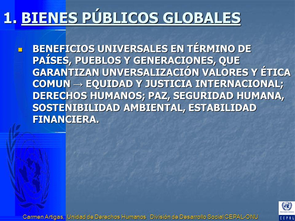 Carmen Artigas, Unidad de Derechos Humanos División de Desarrollo Social CEPAL-ONU 1. BIENES PÚBLICOS GLOBALES BENEFICIOS UNIVERSALES EN TÉRMINO DE PA