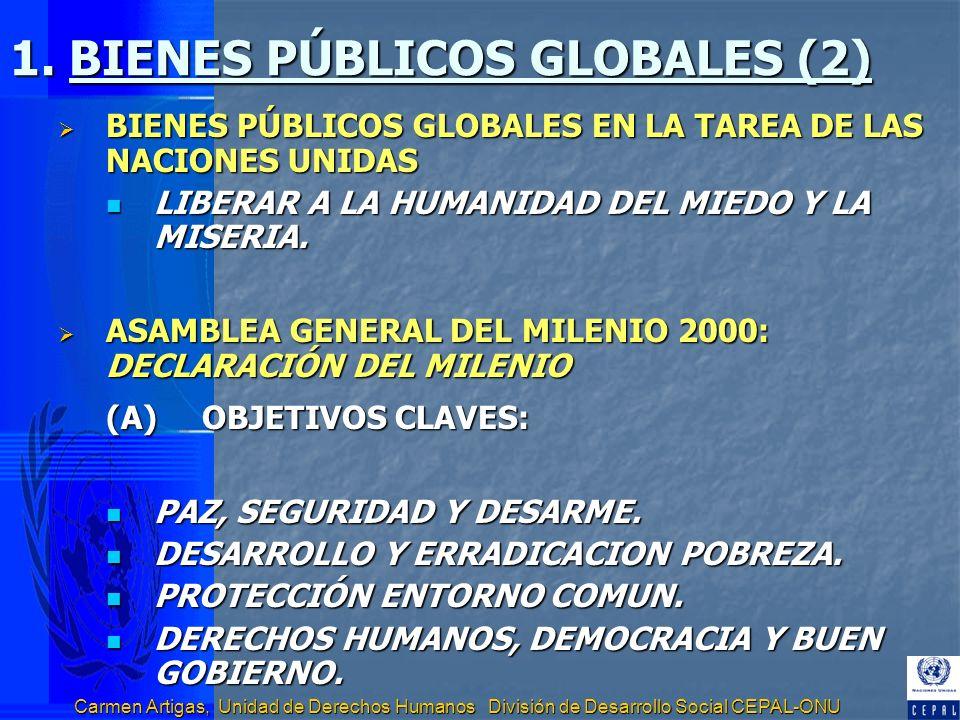 Carmen Artigas, Unidad de Derechos Humanos División de Desarrollo Social CEPAL-ONU 1. BIENES PÚBLICOS GLOBALES (2) BIENES PÚBLICOS GLOBALES EN LA TARE