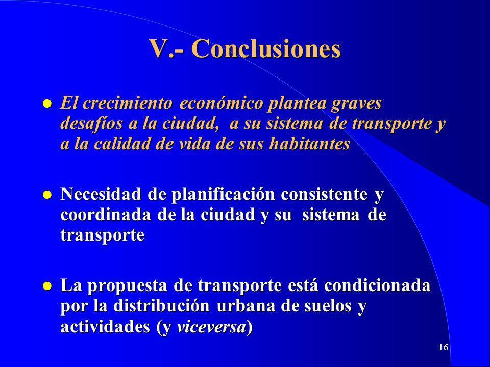 16 V.- Conclusiones l El crecimiento económico plantea graves desafíos a la ciudad, a su sistema de transporte y a la calidad de vida de sus habitantes l Necesidad de planificación consistente y coordinada de la ciudad y su sistema de transporte l La propuesta de transporte está condicionada por la distribución urbana de suelos y actividades (y viceversa)
