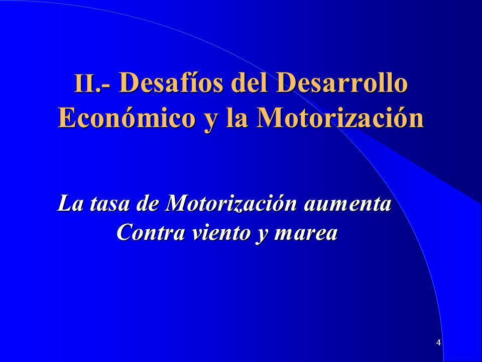 4 II.- Desafíos del Desarrollo Económico y la Motorización La tasa de Motorización aumenta Contra viento y marea