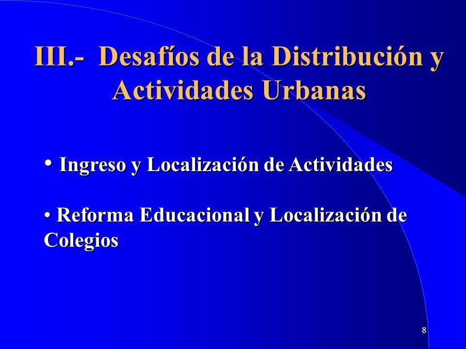 8 III.- Desafíos de la Distribución y Actividades Urbanas Ingreso y Localización de Actividades Ingreso y Localización de Actividades Reforma Educacional y Localización de Colegios Reforma Educacional y Localización de Colegios