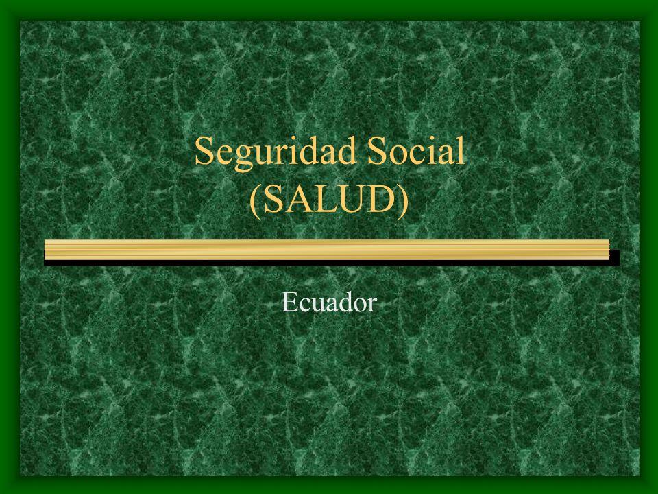Ecuador Perfil demográfico y social El sector de la salud está constituido por una multiplicidad de instituciones públicas y privadas, con y sin fines de lucro, coordinadas en base a los acuerdos y las normas establecidas por el Consejo Nacional de Salud.