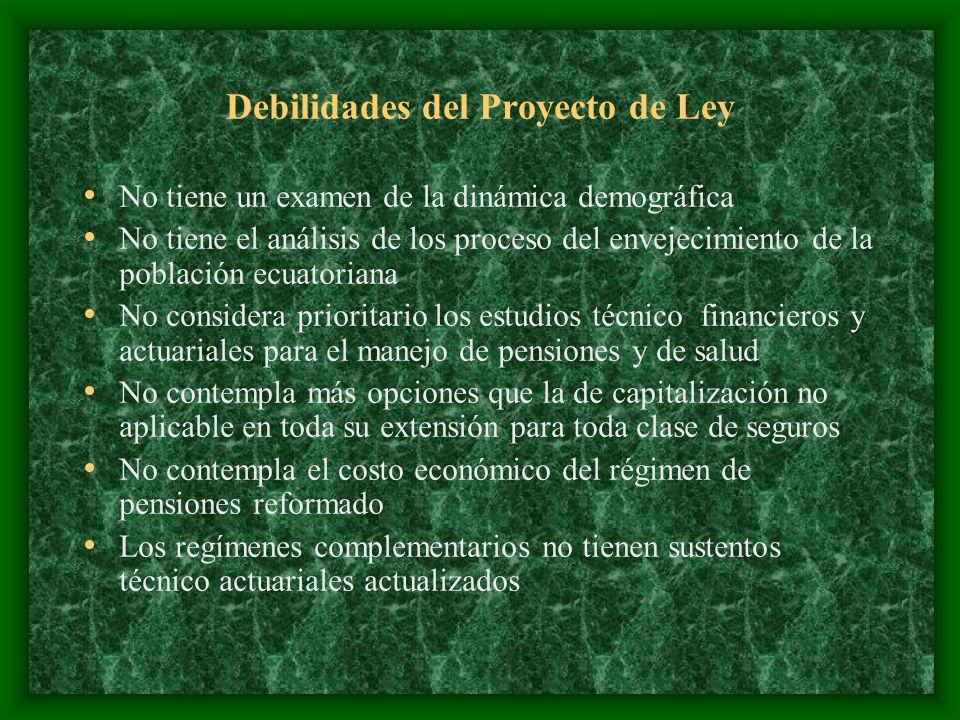 Debilidades del Proyecto de Ley No tiene un examen de la dinámica demográfica No tiene el análisis de los proceso del envejecimiento de la población e