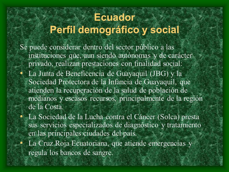 Ecuador Perfil demográfico y social Se puede considerar dentro del sector público a las instituciones que, aun siendo autónomas y de carácter privado,