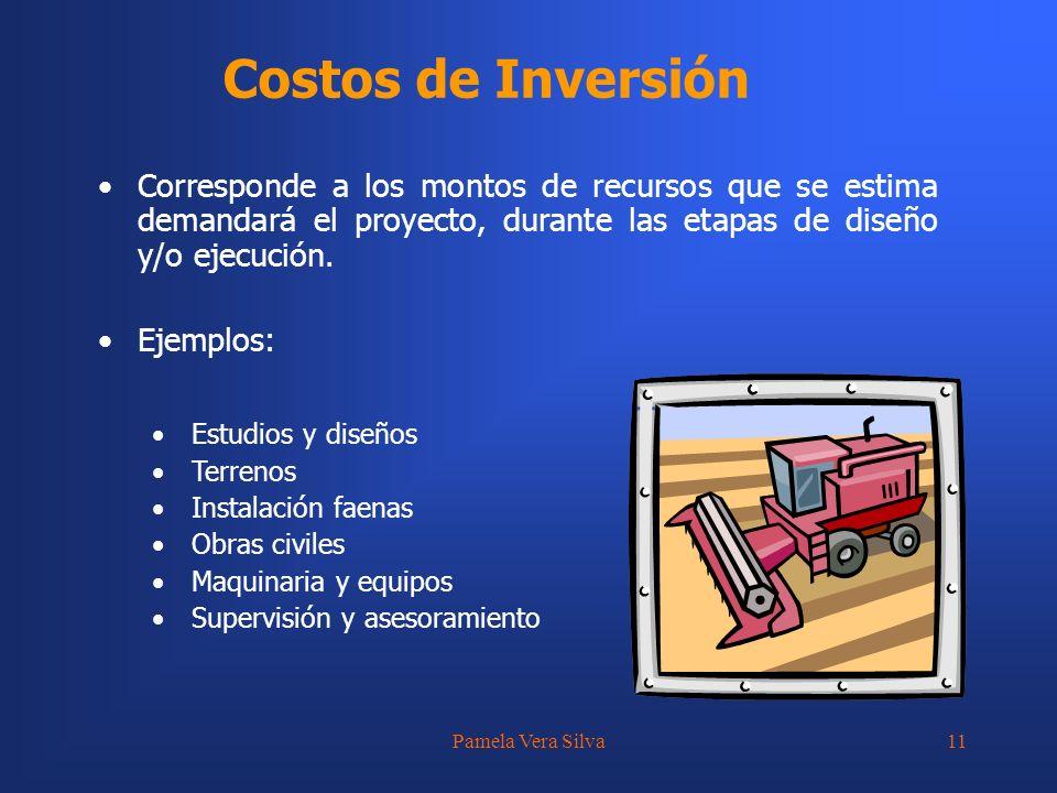 Pamela Vera Silva11 Costos de Inversión Corresponde a los montos de recursos que se estima demandará el proyecto, durante las etapas de diseño y/o eje