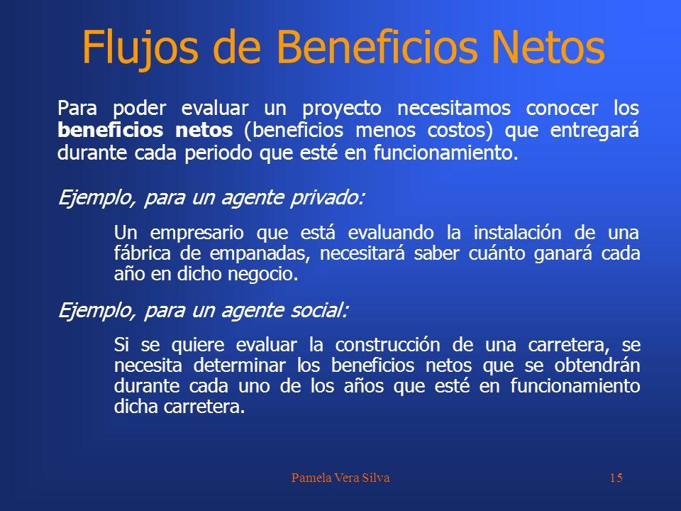 Pamela Vera Silva15 Flujos de Beneficios Netos Para poder evaluar un proyecto necesitamos conocer los beneficios netos (beneficios menos costos) que e