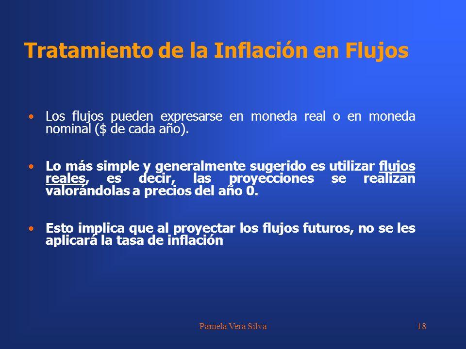 Pamela Vera Silva18 Los flujos pueden expresarse en moneda real o en moneda nominal ($ de cada año). Lo más simple y generalmente sugerido es utilizar