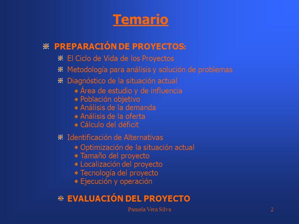 Pamela Vera Silva33 EVALUACIÓN DE ALTERNATIVAS Métodos Costo Eficiencia: b.