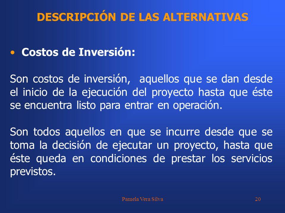 Pamela Vera Silva20 DESCRIPCIÓN DE LAS ALTERNATIVAS Costos de Inversión: Son costos de inversión, aquellos que se dan desde el inicio de la ejecución