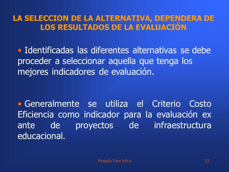 Pamela Vera Silva23 LA SELECCION DE LA ALTERNATIVA, DEPENDERA DE LOS RESULTADOS DE LA EVALUACIÓN Identificadas las diferentes alternativas se debe pro
