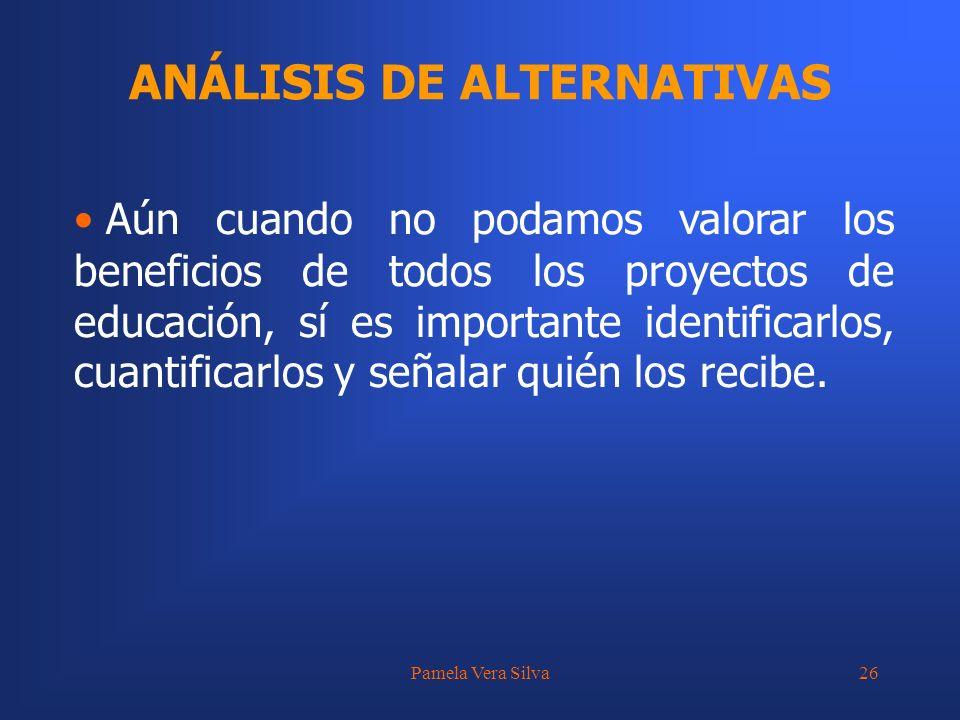 Pamela Vera Silva26 ANÁLISIS DE ALTERNATIVAS Aún cuando no podamos valorar los beneficios de todos los proyectos de educación, sí es importante identi
