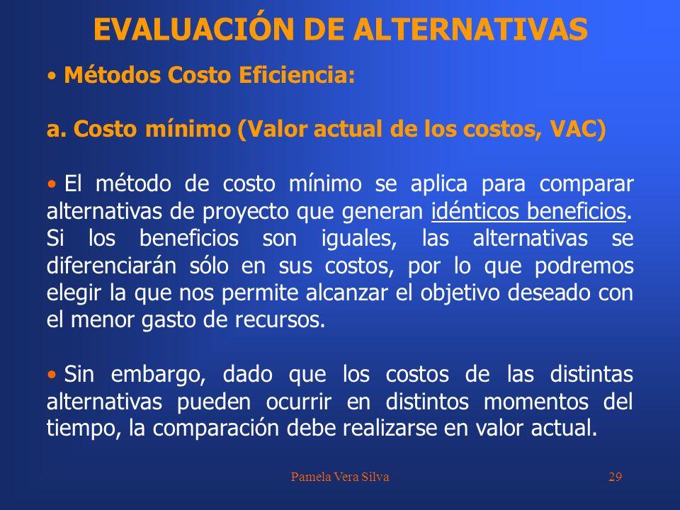 Pamela Vera Silva29 EVALUACIÓN DE ALTERNATIVAS Métodos Costo Eficiencia: a. Costo mínimo (Valor actual de los costos, VAC) El método de costo mínimo s